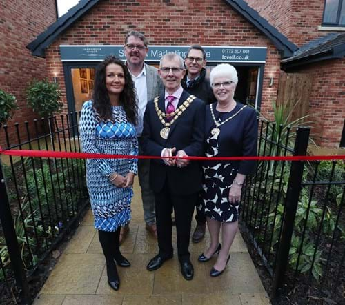 (LtoR) Anne-Marie O'Doherty (Lovell Homes Sales Director), Simon Corbett (Lovell Homes Sales Manager), the Mayor and Mayoress of South Ribble, and Nick Alderson from Homes England